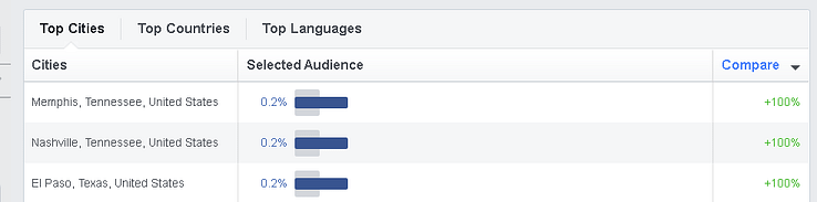 On the Location tab of Audience Insights, you can see the Top Cities for the selected audience.