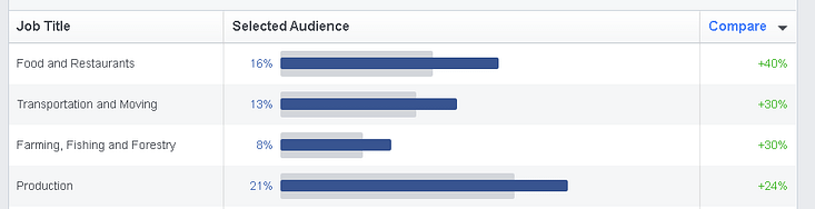 Scrolling down on the Facebook Audience Insights tool, you can see a breakdown of your selected audience by buckets of Job Titles.